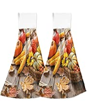 Fall Pumpkins Hanging Kitchen Towels Thanksgiving Decor Hand Towel with Loop 2 Pack, Soft Absorbent Coral Velvet Fingertip Tie Towel for Bathroom Tabletop Home Decor