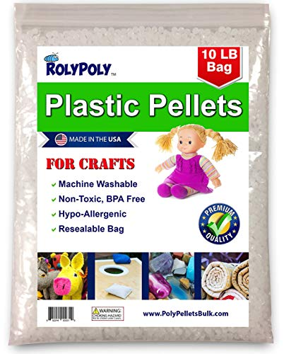(Poly Plastic Pellets (10 LBS) for Weighted Blankets, Crafts, Dolls, Toys, Lap Pads, Bean Bags, I-Spy Bags, Rock Tumbler, Rifle Bags, Non-Toxic, Machine Washable/Dryable)
