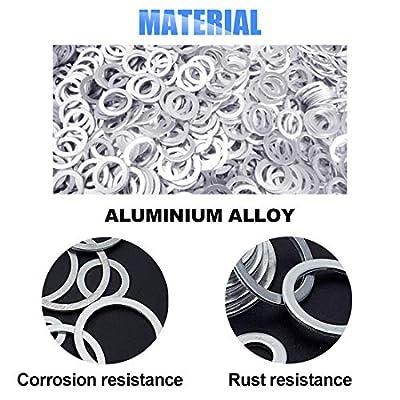 Glarks 470-Pieces Automotive Aluminum Metric Oil Drain Plug Gasket Washers Assortment Set Size is M6 - M24: Automotive