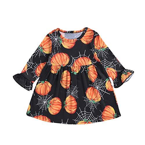 Toddler Baby Girls Pumpkin Onesies Dress Ruffled Long Sleeve Sleepwear Organic Outfit Halloween Costumes Christmas Party Black