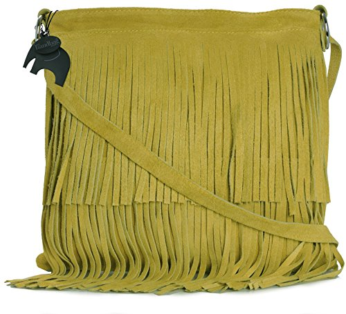 LIATALIA Yellow Size Bag Womens Suede Shoulder ASHLEY Tassle Leather Fringe Small PUSqPw