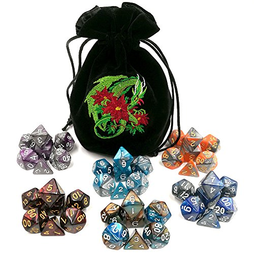 6 x 7 Full Polyhedral Dice Sets Two-Tone Swirl Color with Dragon Embroidered Dice Bag for Tabletop RPG DnD Dungeons and Dragons D&D Games (Dice Sets D20)