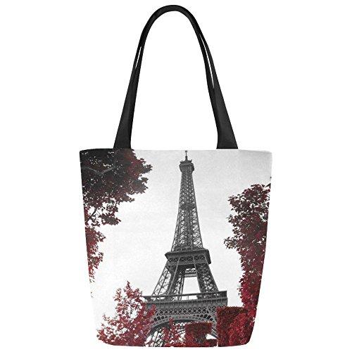 Women Girl Canvas Travel Handbag Shoulder Shopping Bag Paris Eiffel - 5