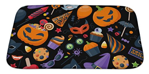 Gear New Bath Mat for Bathroom, Memory Foam Non Slip, Halloween Party Colorful Pattern Illustration, 34x21, 6076237GN