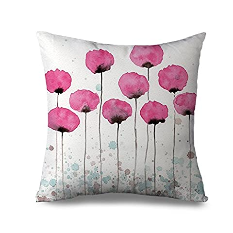 Popeven Retro Pink Flower Decorative Pillow Case Floral Pillow Cover for Women Girly Canvas Pillow Sham for Sofa Rose Flower Couch Cushion Cover 18x18 Standard Pillowcase with Zip