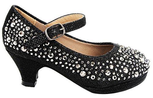 Dana Kids Cute Bling Rhinestone Mary Jane Formal Dress Low Heel Pumps