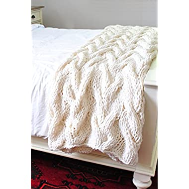 Chunky Cabled XL Throw Blanket, READY TO SHIP
