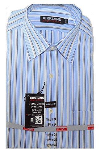 (Kirkland Signature Men's Non Iron Button Down Dress Shirt Blue/Gray/White Stripe (161/2x34))