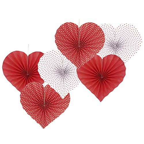 Red Heart Valentines Party Hanging Decorations Paper Fans Wedding Anniversary Bachelorette Bridal Shower Baby Shower Birthday Party Photo Backdrops Decorations, 6pc (Hanging Party Decorations Birthday)
