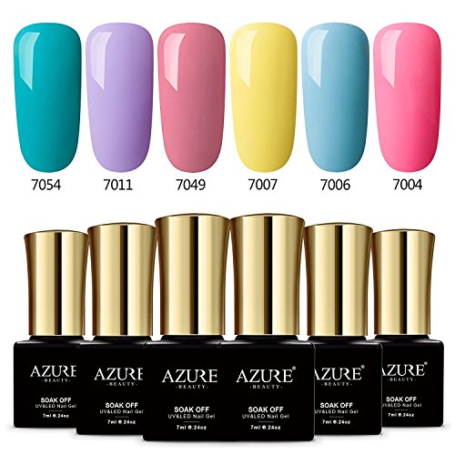 AZUREBEAUTY Gel Nail Polish Set Summer Rainbow Colors UV LED