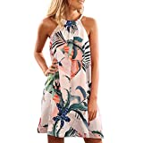 Women Camis Dresses Sleeveless Halter Neck Floral Print Casual Fashion Above Knee Mini Dress Pink