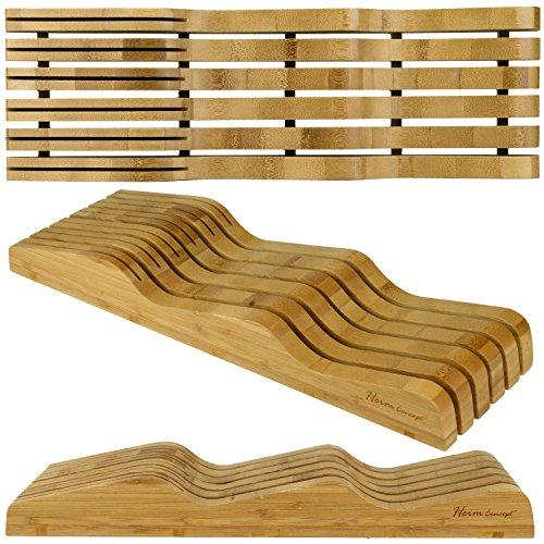 Organic Bamboo Knife Block Organizer, Heim Concept In- Drawer Premium Bamboo Wood Knife Storage Block - Holds Up To 16 Knives by Heim Concept (Image #7)