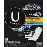 U by Kotex Lightdays PLUS Liners, Regular, Fragrance-Free, 40 Count