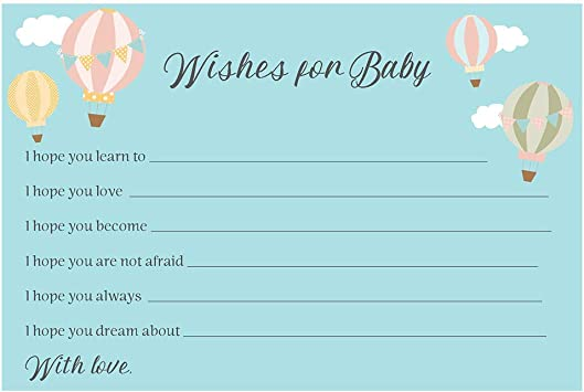 Blue Boy Personalised Guess the Baby/'s Due Date Game Hot Air Balloon Cute