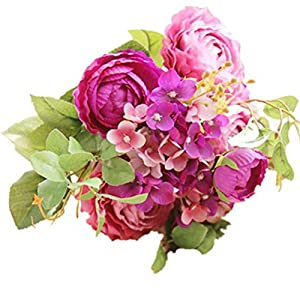 ENCOCO Artificial Peony Silk Fake Flower Bunch Bouquet Home Wedding Garden Floral Decor 3