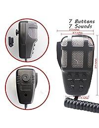 Altavoz con sirena para auto GAMPRO, 12 voltios, 80 vatios, 7 tonos de sirena, con bocina, sistema de altavoces con micrófono y amplificador de sonido de emergencia
