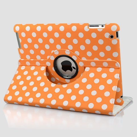 Orange and White Polka Dot Pattern PU Leather Case For the New iPad 3 (3rd Generation) /iPad 2 With 360 Degrees Rotating Stand