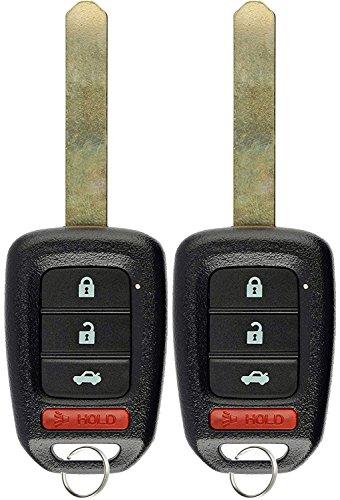 KeylessOption Keyless Entry Remote Fob Uncut Ignition Car Key for Honda Civic Accord (Pack of 2)