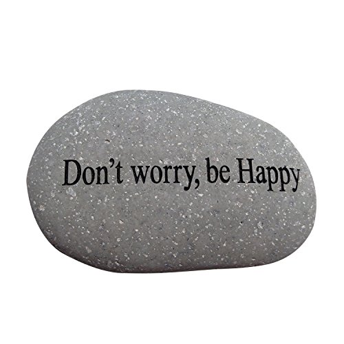 Garden Age Supply Don't Worry, be Happy Engraved Quotes Stones Inspirational Sandblast Stone, Perfect Gorgeous Unique Gift Ideas, Natural Beach Pebble Rock