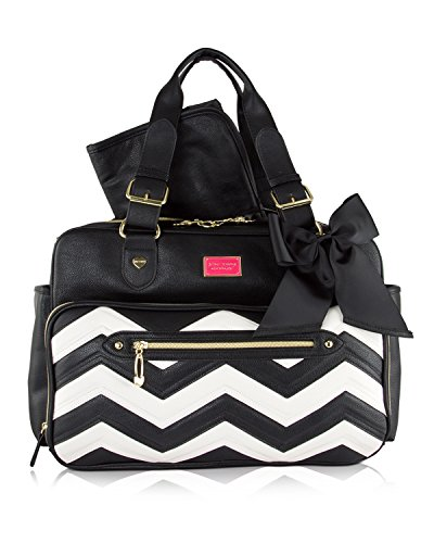 Grosgrain Ribbon Purses - Betsey Johnson 3pc Zig Zag Weekender Multi-Function Diaper Satchel Tote Bag with Changing Mat - Cream/Black