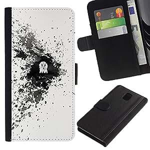 Protector de cuero de la PU de la cubierta del estilo de la carpeta del tirón BY RAYDREAMMM - Samsung Galaxy Note 3 III - Cráneo Splash