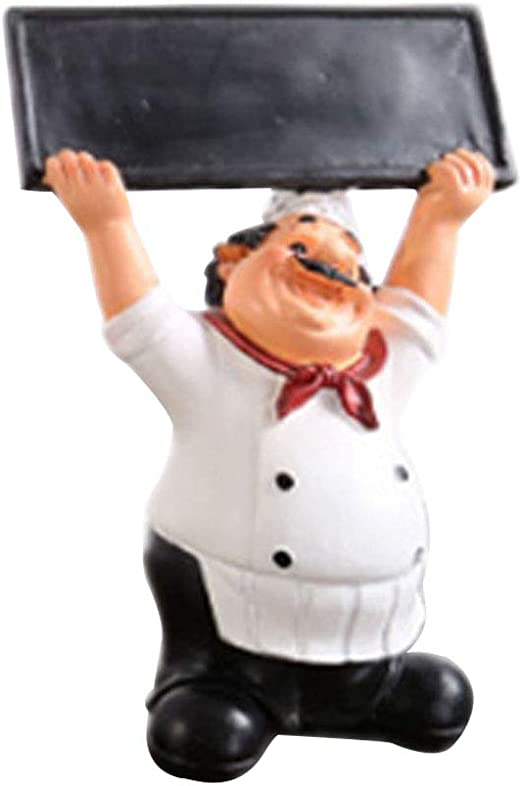 French Chef Figurine with Chalkboard Cook Statue Restaurant Decoration