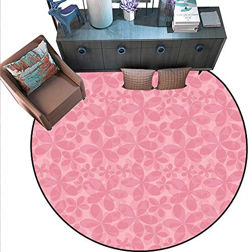 Pink and White Non-Slip Round Rugs Spring Inspired Abstract Floral Vintage Design with Double Exposure Effect Living Dinning Room and Bedroom Rugs (6'6