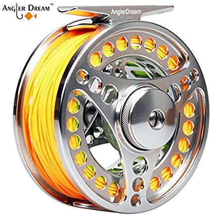 Fly Reel/&Line Combo Aluminum Fly Fishing Reel WF Fly Line Backing Leader Loops