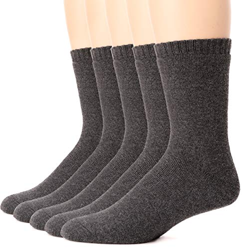 Mens Wool Socks Thermal Heavy Thick Winter Warm Fuzzy Cabin Socks For Cold Weather 5 Pack (Grey)