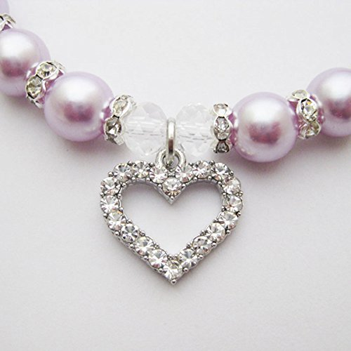 PETFAVORITES Engraved Crystal Heart Dog Necklace Jewelry with Bling Pearls Rhinestones Charm for Pets Cats Small Dogs Girl Teacup Chihuahua Yorkie Clothes Costume Outfits (Purple, Neck Size: 10''-12'')