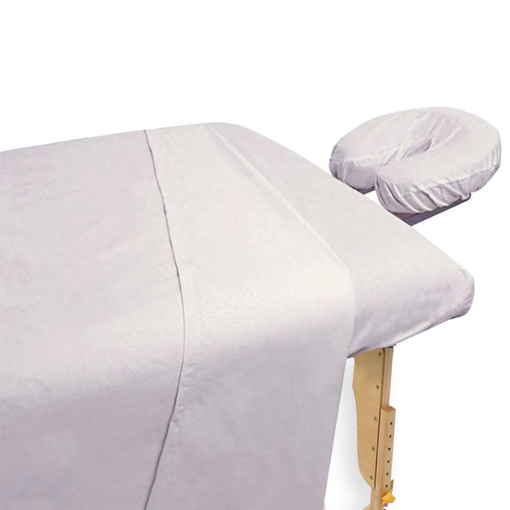 Atlas Solid White Flat Bed Small Draw Sheets 54x72 inch, 2-Sheets, Breathable, Durable Cotton Blend for Massage Tables, Nursing Homes, Medical Facilities and Chiropractors - 130 Thread Count