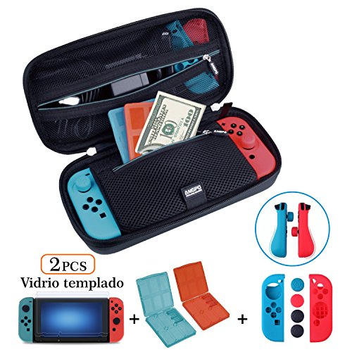 ANGPO for Nintendo Switch Protector Kit,Large Capacity Travel Case/Joycon Grips Guards/2x HD Anti Glare Switch Screen Protector/2x Game Card and Micro SD Card Storage Case ()