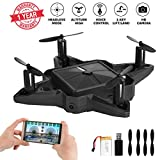 Mini Drone Drones with Camera Live Video Foldable Pocket Nano RC Drones Quadcopter FPV Chargeable Selfie Drone for Beginners 2.4GHz Altitude Hold One Key Start (BLACK)