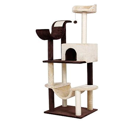 Finether Árbol Rascador para Gatos con Nidos Juguete de Sisal Natural para Gatos con Plataformas, Beige y Marrón