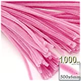 The Crafts Outlet Chenille Stems, Pipe Cleaner, 20-inch (50-cm), 1000-pc, Hot Pink