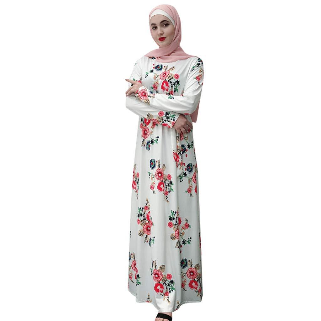 PaJau Muslim Slim Ethnic Style Noble Dress,Women's Flower Embroidered Elegant Maxi Dress Modest Maxi Dress Retro Turkey Long Robe (L, White)