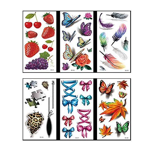 VanTattoo (6Sheets) Fashion Body Art Stickers Removable Waterproof Temporary Tattoo –3D color tattoos?Strawberry, Butterfly, Feather, Puzzle, Bow, Maple -