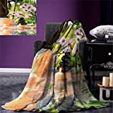 smallbeefly Spa Digital Printing Blanket Massage Composition Spa Theme Candles Orchids The Stones in Garden Summer Quilt Comforter 80''x60'' Pale Green Fuchsia