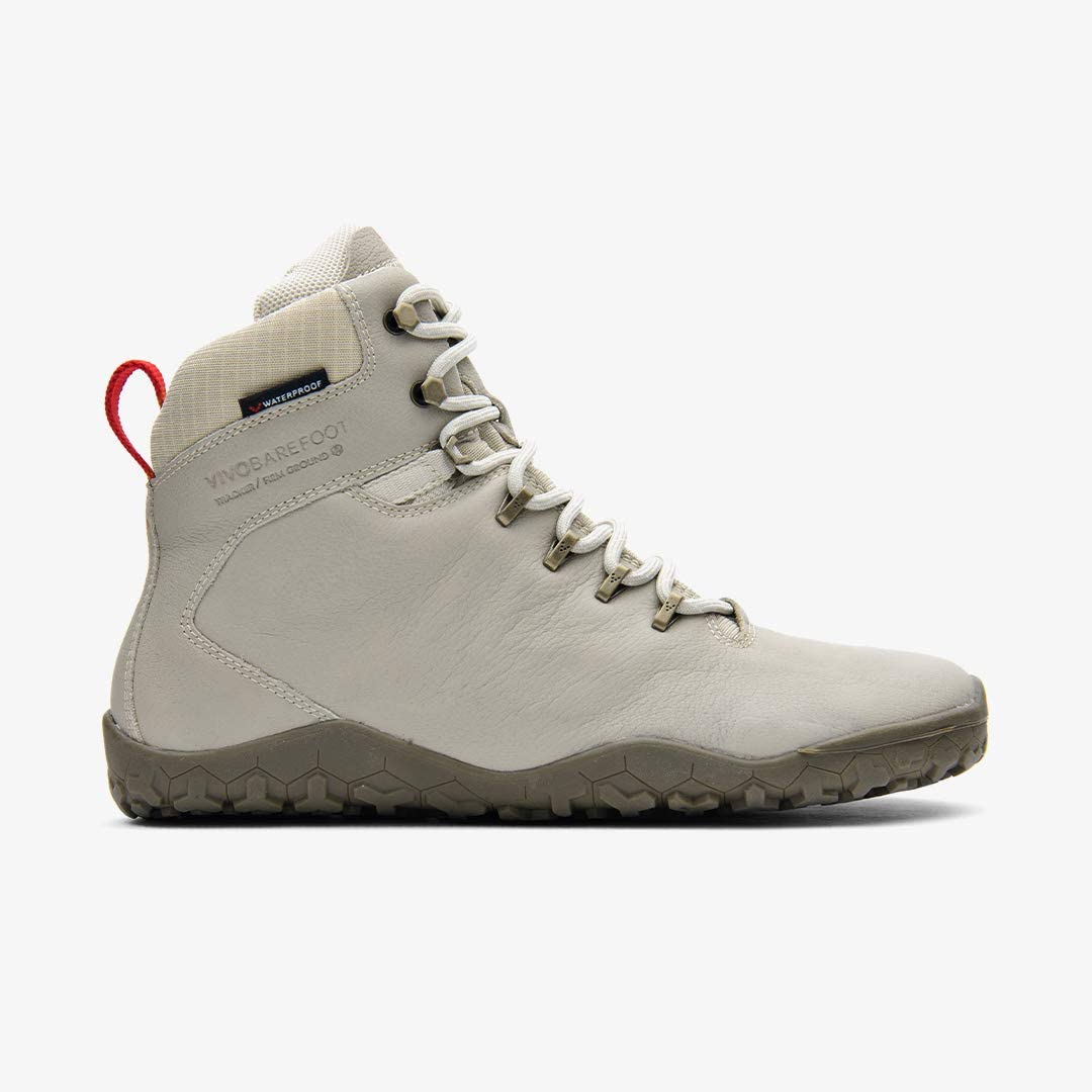 Vivobarefoot Tracker Fg, Womens Leather Waterproof Hiking Boot With Barefoot Firm Ground Sole And Thermal Protection Cement Cream