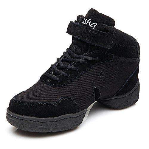 HROYL Womens Boost Dance Sneaker Jazz Sneaker Leather and Mesh Upper Enable You Enjoy Dancing Model-B52 Black-b SoLfwS