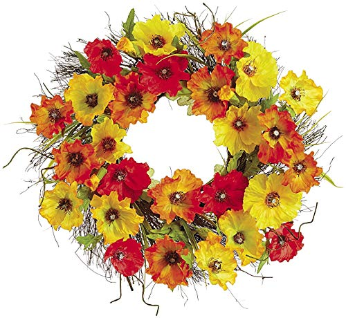 Ten Waterloo 22 Inch Poppy Wreath in Orange, Gold and Red Poppy Blooms, Artificial Floral on a Natural Twig Base