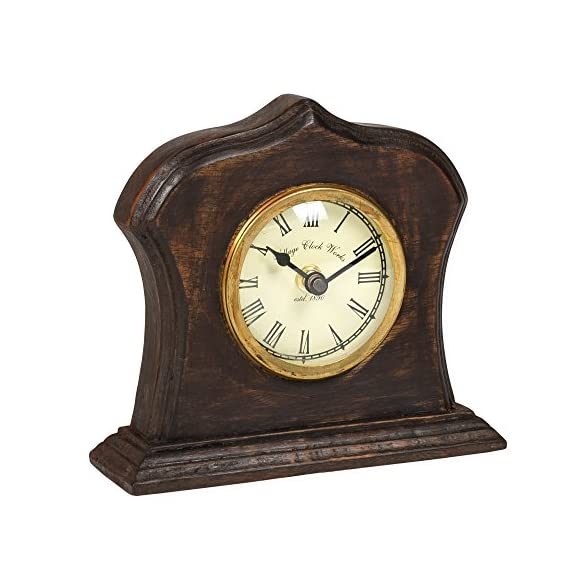 Bristol Village Clockworks Replica 6 x 6 Wooden Table Top Analog Clock - Made of wood material with an aged, distressed appearance Analog clock measures approximately 6 x 6 x 2 inches Functioning clock with Roman Numeral style clock face; Requires 1 AA battery; NOT included - clocks, bedroom-decor, bedroom - 511kf3cDKAL. SS570  -