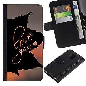 All Phone Most Case / Oferta Especial Cáscara Funda de cuero Monedero Cubierta de proteccion Caso / Wallet Case for Samsung Galaxy S5 V SM-G900 // LOVE YOU LEAF
