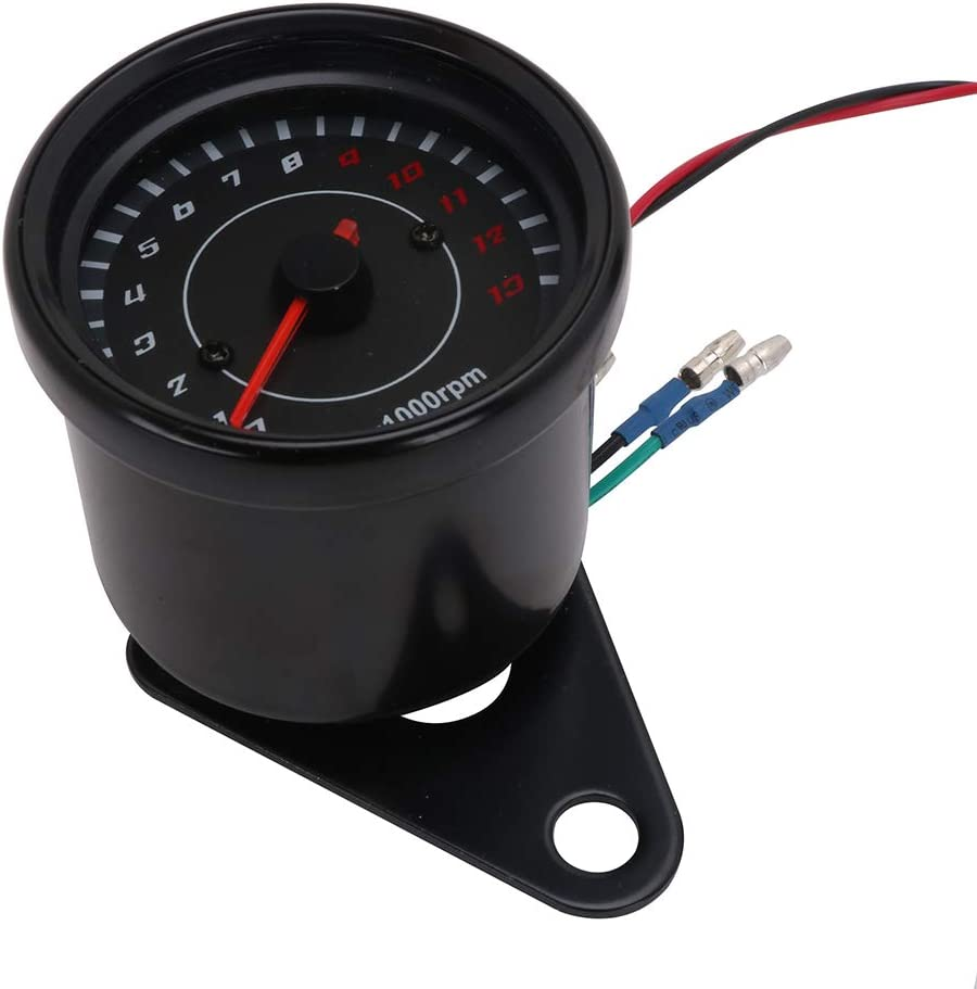 Motorcycle Universal Analog Tachometer Gauge LED Backlight Speedometer 0-13000 RPM (Sliver
