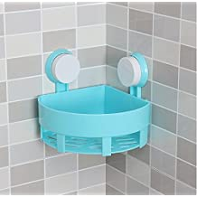 PowerLead Bath Corner Shelf Plastic Bathroom Kitchen Wall Corner Basket Suction Bathroom Shower Corner Caddy for Shampoo, Conditioner, Soap