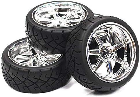 Integy RC Model Hop-ups C23483SILVER 7 Spoke Complete Wheel & Tire Set (4) Wide Offset for 1/10 Touring Car