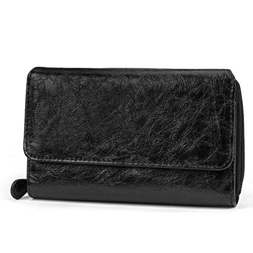 Mundi Big Fat Wallet Womens RFID Blocking Wallet Card Carrier Clutch Organizer (Black (Crinkle Patent))