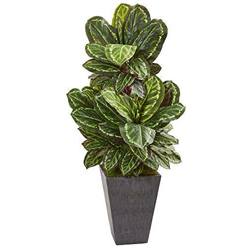 Nearly Natural 8407 53-in. Maranta Artificial Slate Finished Planter Silk Plants Green