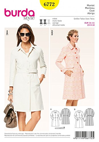 Burda Ladies Sewing Pattern 6772 Button Up Trench Coats Belt