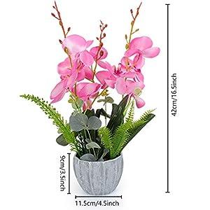 YOBANSA Big Size Orchid Bonsai Artificial Flowers with Imitation Porcelain Flower Pots Phalaenopsis Fake Flowers Arrangements for Home Decoration (Rose Red) 2